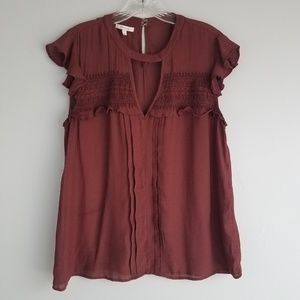 Maurices Large maroon ruffle blouse N6
